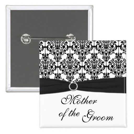 Madre blanco y negro del damasco del Pin del novio