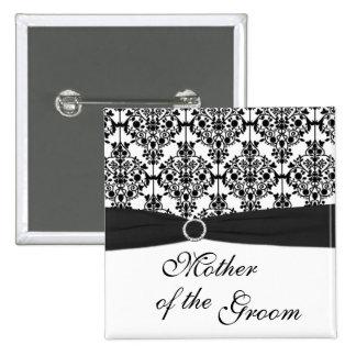 Madre blanco y negro del damasco del Pin del novio Pin Cuadrada 5 Cm