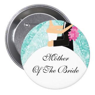 Madre brillante de la turquesa del botón/Pin de la Pin Redondo 7 Cm