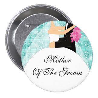 Madre brillante de la turquesa del botón/Pin del n Pin Redondo De 3 Pulgadas