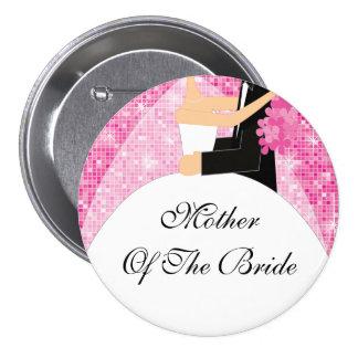 Madre brillante del rosa del botón/Pin de la novia Pin Redondo 7 Cm