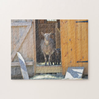 Madre con rompecabezas de la cabra del bebé