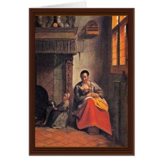 Madre de amamantamiento de Hooch Pieter De Tarjeta De Felicitación