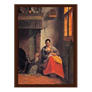 Madre de amamantamiento de Hooch Pieter De Postal