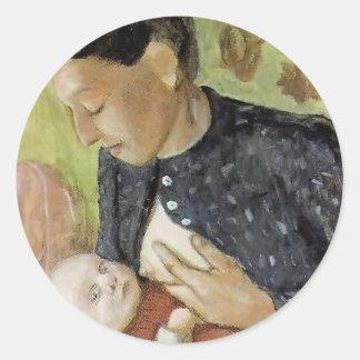 Madre de amamantamiento de Paula Becker de Paula Pegatina Redonda