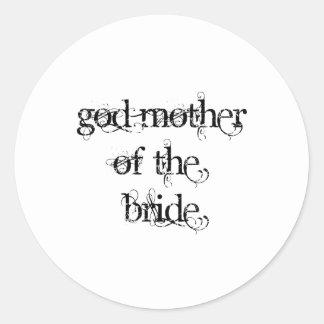 Madre de dios de la novia etiquetas redondas