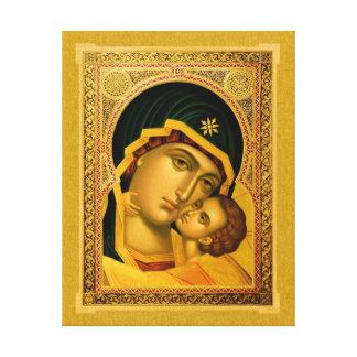 Madre de dios Glykophilousa - icono en la Impresión En Lona Estirada