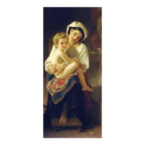 Madre de Guillermo Bouguereau- que mira en su niño Plantilla De Lona