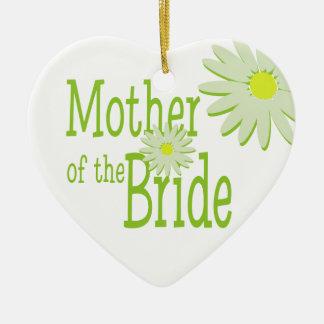Madre de la boda de la margarita de la novia adorno de cerámica en forma de corazón