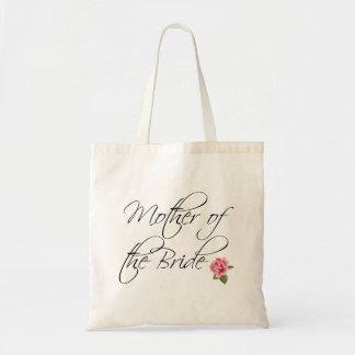 Madre de la caligrafía de la novia y subió bolsa tela barata