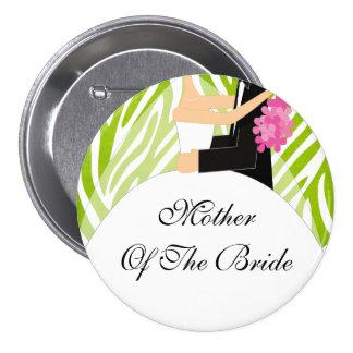 Madre de la cebra de la verde lima del botón/Pin d Pin Redondo De 3 Pulgadas