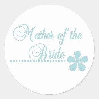 Madre de la elegancia del trullo de la novia pegatina redonda