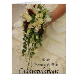 madre de la enhorabuena de la novia tarjeta de felicitación grande