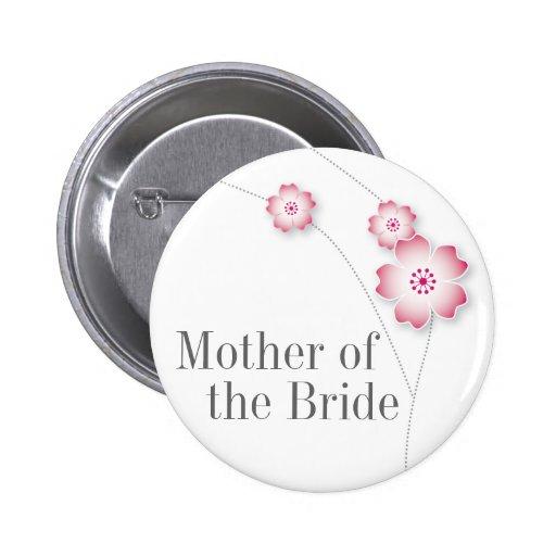 Madre de la flor de cerezo del botón de la novia pin