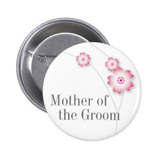 Madre de la flor de cerezo del botón del novio pin redondo de 2 pulgadas