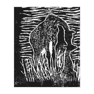 Madre de la jirafa y bebé de la jirafa impresión en lienzo