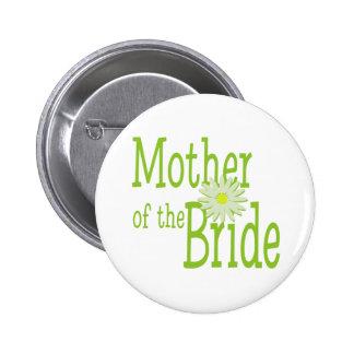 Madre de la margarita de la novia pin redondo de 2 pulgadas