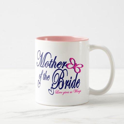 Madre de la mariposa de la novia tazas de café