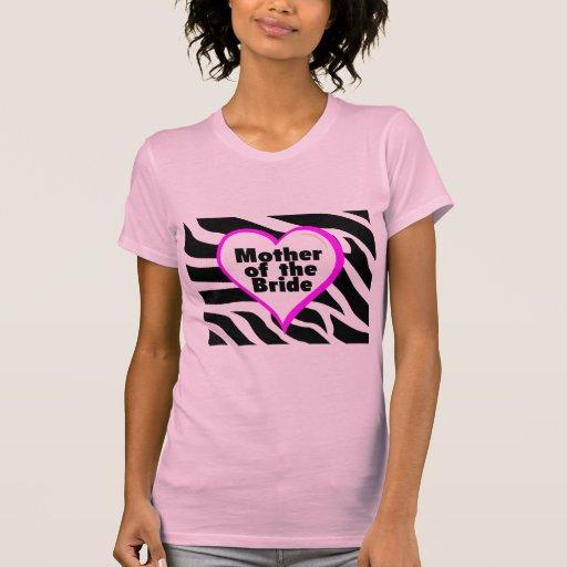 Madre de la novia (estampado de zebra del corazón) camisetas