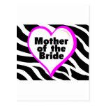 Madre de la novia (estampado de zebra del corazón) tarjetas postales