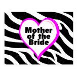 Madre de la novia (estampado de zebra del corazón) tarjeta postal