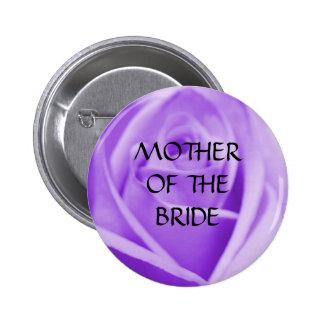Madre de la NOVIA - la lavanda subió el botón Pin Redondo De 2 Pulgadas
