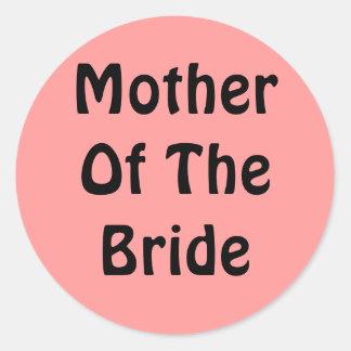 Madre de la novia etiqueta redonda