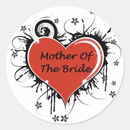 Madre de la novia pegatina redonda