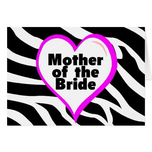 Madre de la novia (rayas de la cebra del corazón) felicitaciones