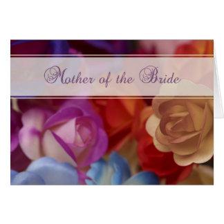 Madre de la novia, tarjeta de los rosas