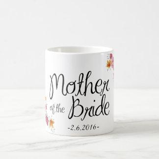 Madre de la taza de café adornada de la novia