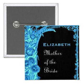 Madre de las flores azules del vintage de la novia pin cuadrado