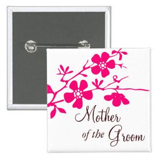Madre de las flores de cerezo del botón del novio pins