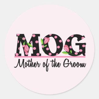 Madre de las letras del tulipán del novio (MOG) Pegatina Redonda