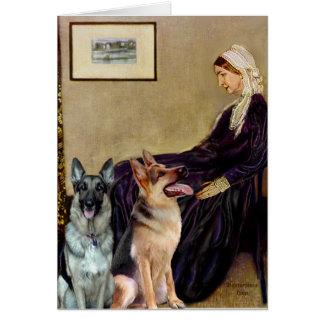 Madre de las marmotas - dos pastores alemanes tarjeta de felicitación
