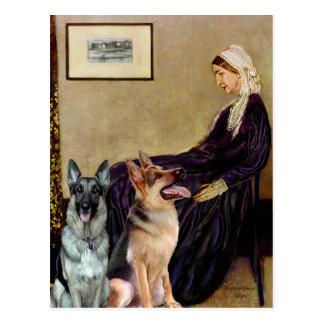 Madre de las marmotas - dos pastores alemanes tarjetas postales
