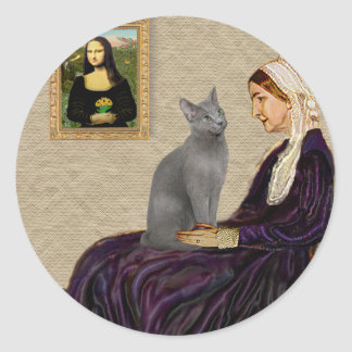 Madre de las marmotas - gato azul ruso etiquetas redondas
