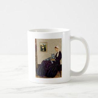 Madre de las marmotas - gato gris taza de café