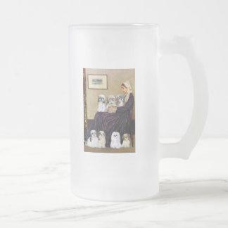 Madre de las marmotas - Shih Tzus (siete) Jarra De Cerveza Esmerilada