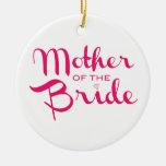 Madre de las rosas fuertes de la novia en blanco adorno redondo de cerámica