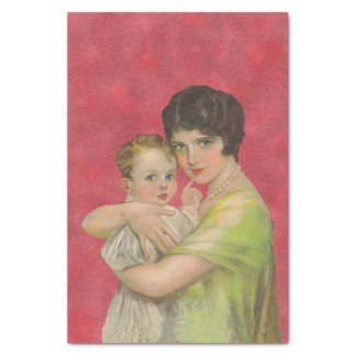Madre de los años 30 del vintage que celebra el papel de seda pequeño