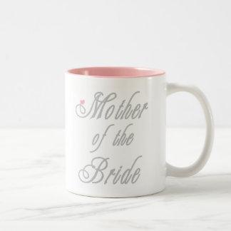 Madre de los grises con clase de la novia taza de café de dos colores