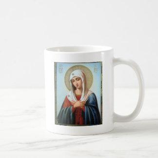 Madre de Maria del ICONO (32) del bueno Taza Básica Blanca