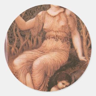 Madre de tierra de Edward Burne-Jones Pegatina Redonda
