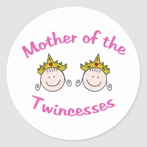 Madre de Twincess Pegatina Redonda