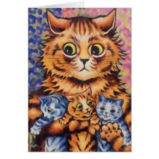 Madre de Wain del vintage y tarjeta de los gatitos