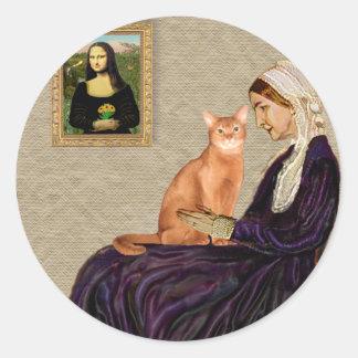 Madre de Whisterls - abisinio rojo Pegatina Redonda