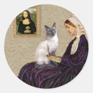 Madre de Whsitlers - gato siamés del punto azul Pegatinas Redondas