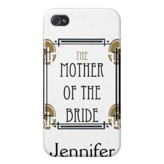 Madre del art déco de la novia en negro y oro iPhone 4/4S carcasa
