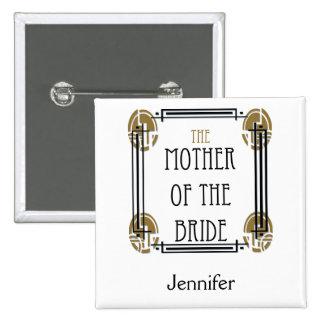 Madre del art déco de la novia en negro y oro pins